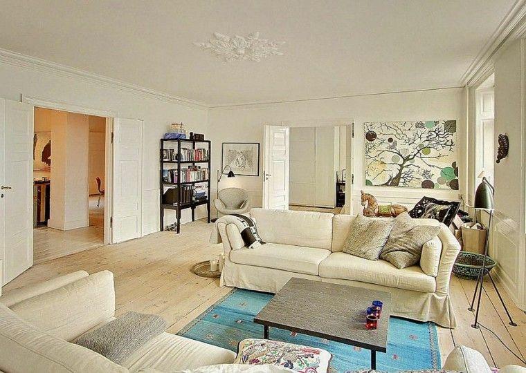 apartamento diseno escandinavo salon sofas blancas ideas