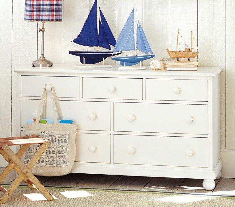 armario blanco barcos azules decorativos ideas