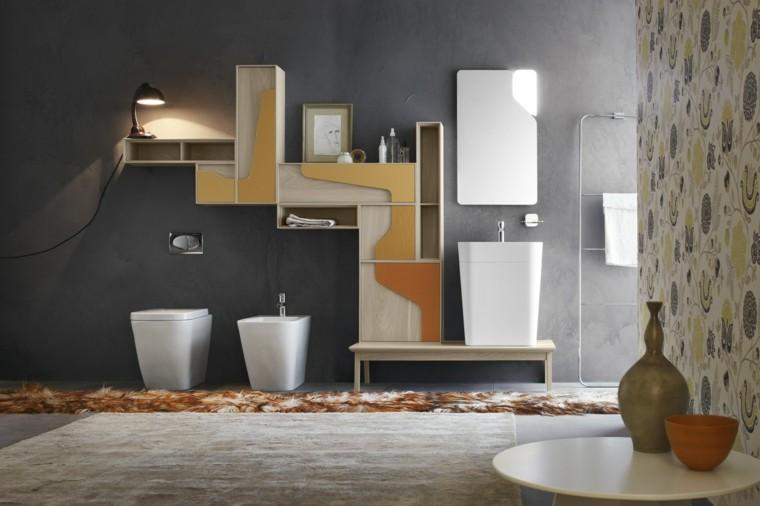 Armarios De Baño Originales:baño con pared azul oscura y armarios originales