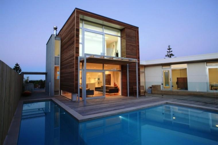 arquitectura moderna jardin piscina porche