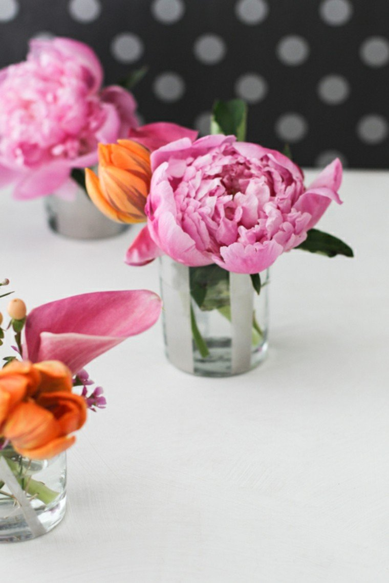 arreglos florales vasos pequenos cristal ideas
