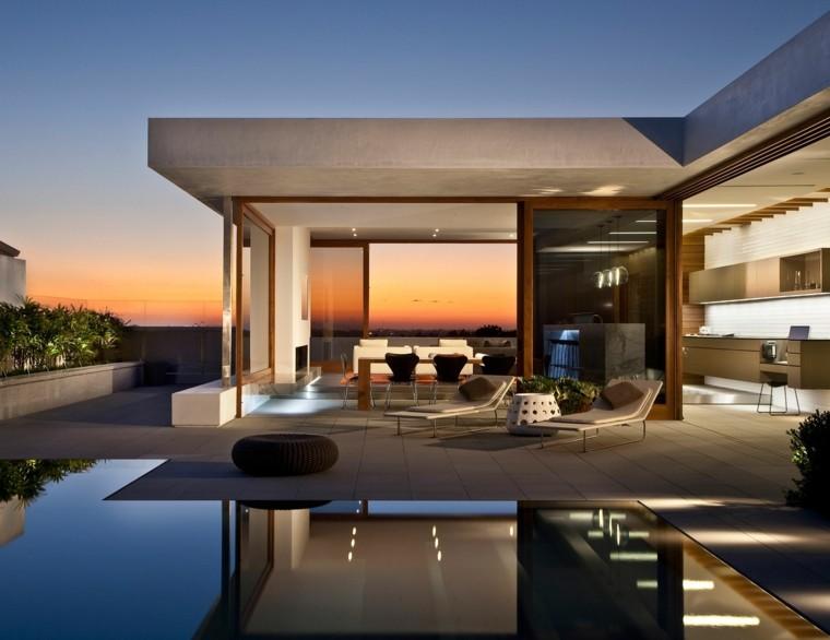 asientos cojines piscinas plantas iluminacion