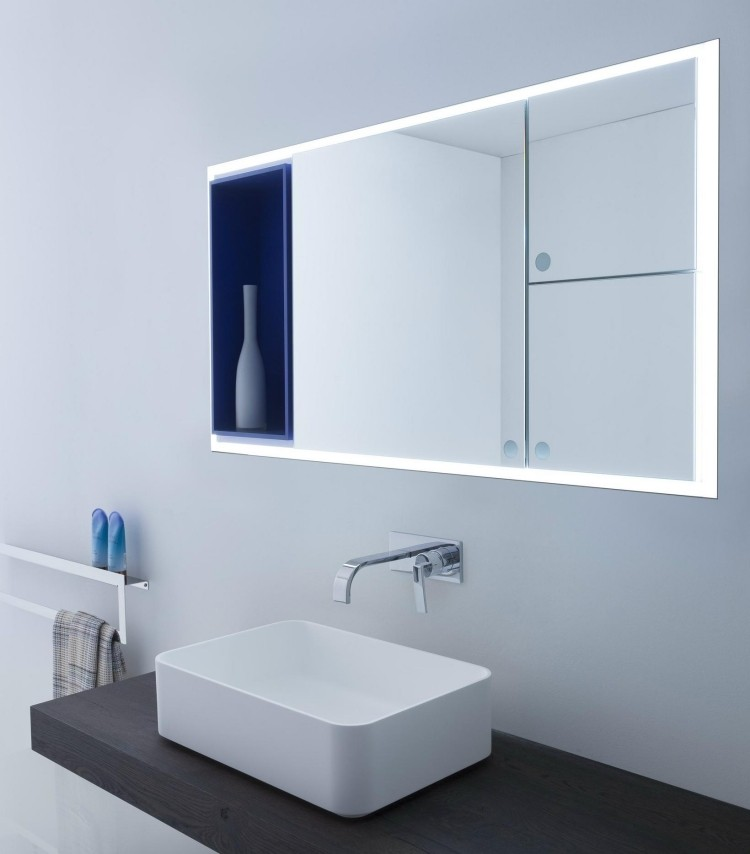 azul crema lavabo baño moderno