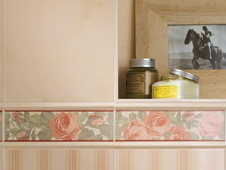 azulejos para baños botes cremas flores