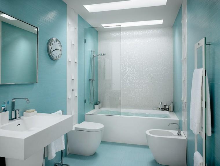 azulejos para baños celeste mosaico
