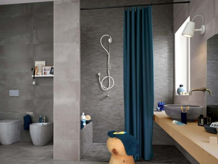 Azulejos para ba os modernos cien ideas geniales for Banos azules y grises