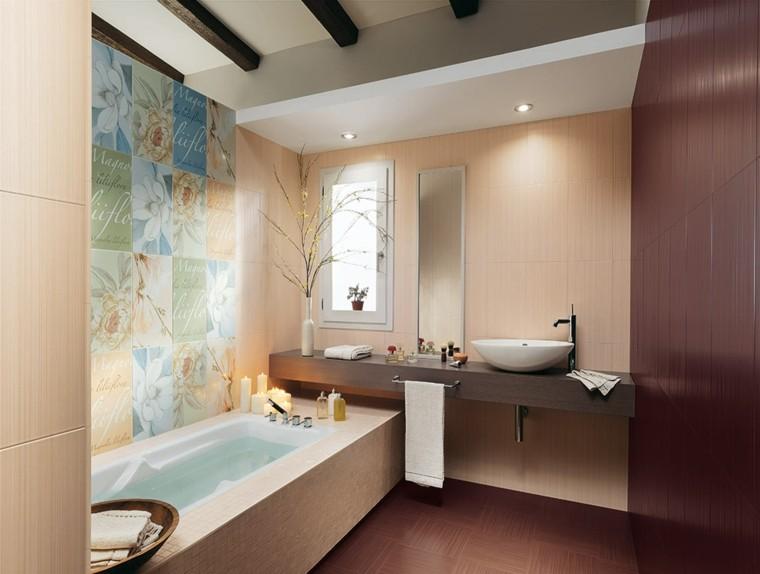 azulejos para baños flores colores