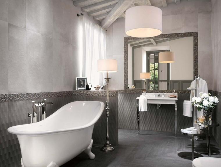Azulejos Baño Grises:Diseño de cuarto de baño con azulejos grises