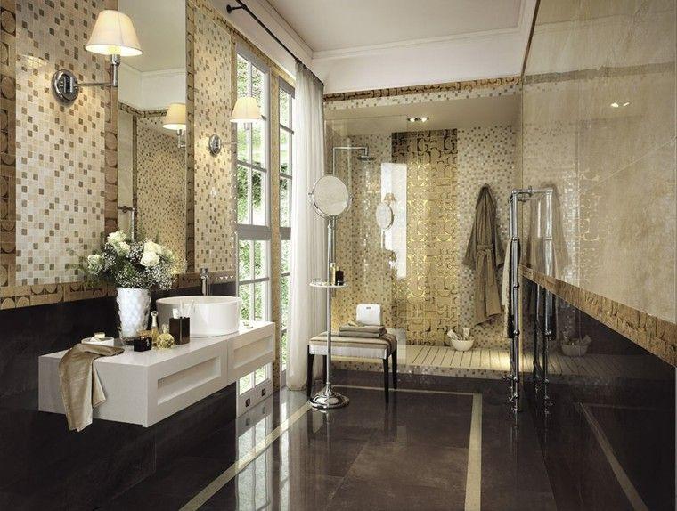 azulejos de baño mosaico dorado