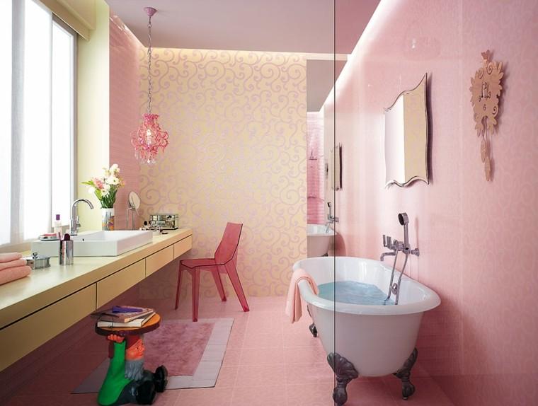 azulejos para baños rosa claro