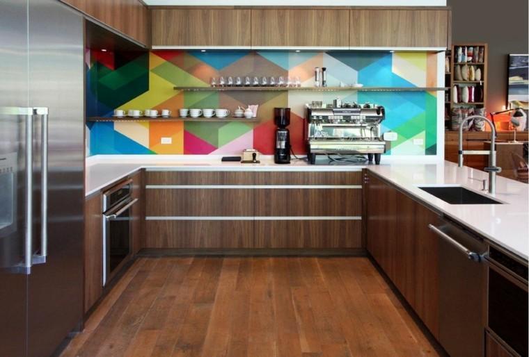 azulejos cocina colorido diseño madera