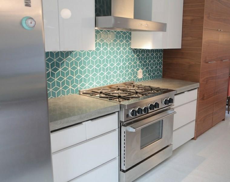 azulejos cocina encimera gavetero azul