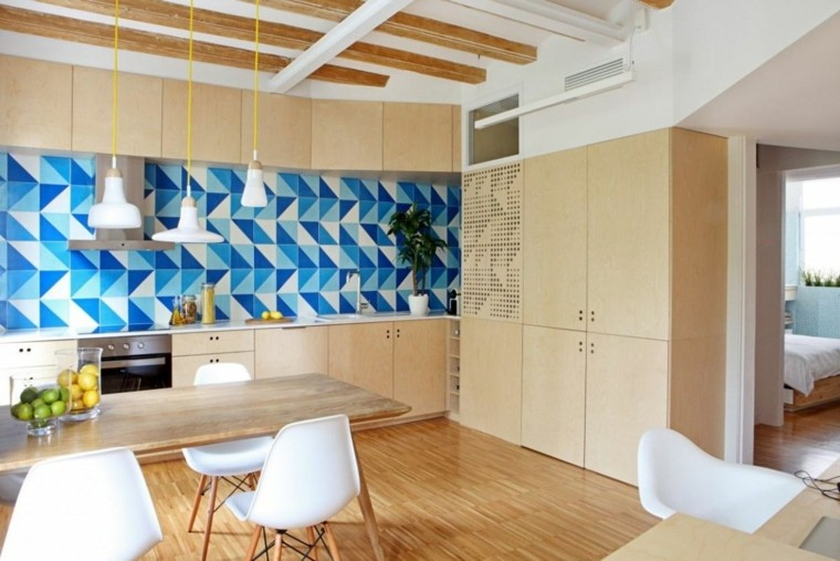 azulejos cocina geometrico azules colorido