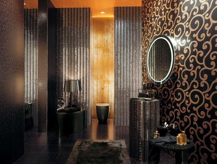 azulejos mosaico negro oro color