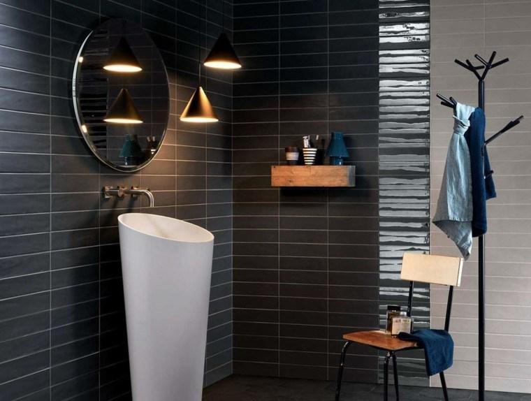 azulejos negros brillo mate lavabo