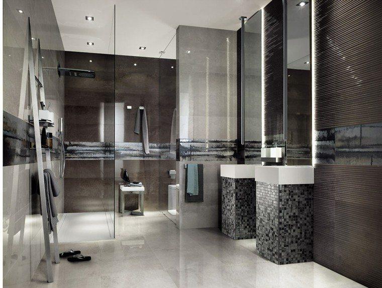 Baño Blanco Con Gris:Azulejos para baños modernos – cien ideas geniales