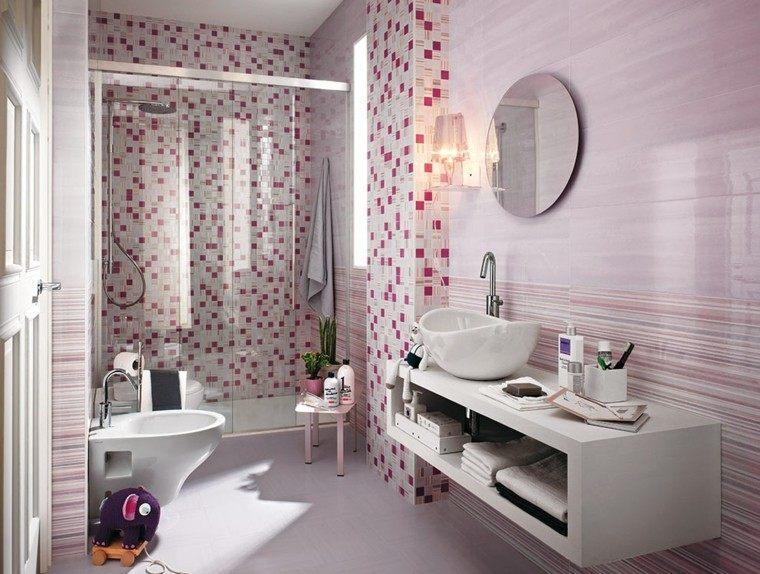azulejos color rosa cuadrados bandas