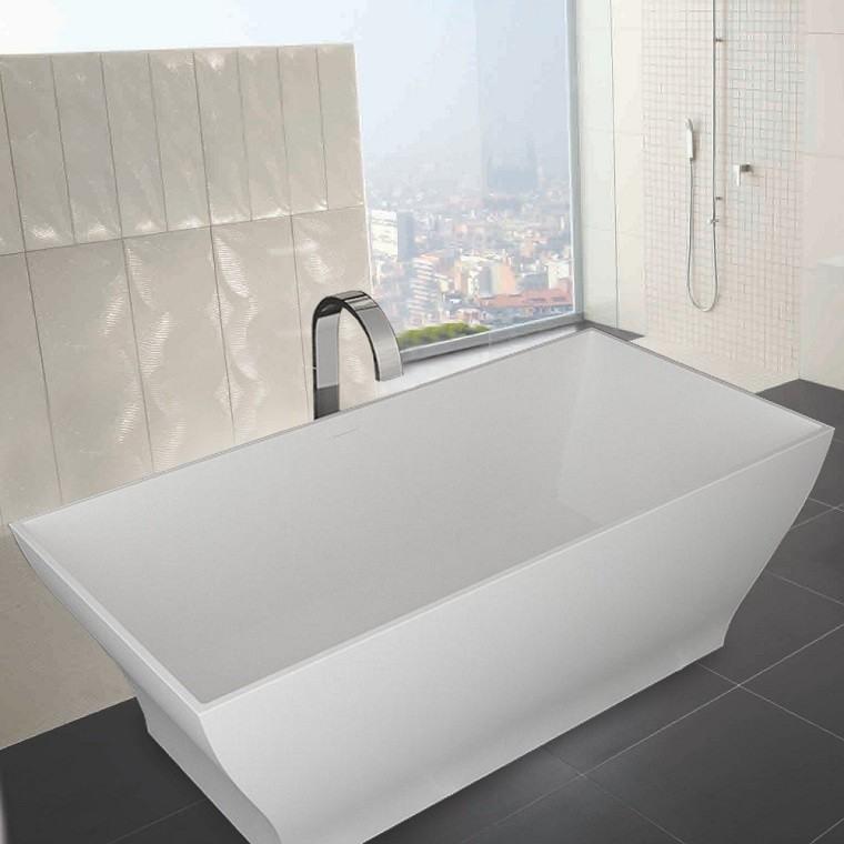bañera moderna blanca rectangular