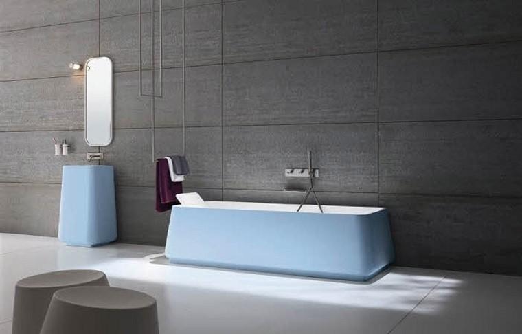 bañera moderna lavabo color celeste