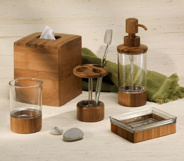 baño accesorios madera natural jabon