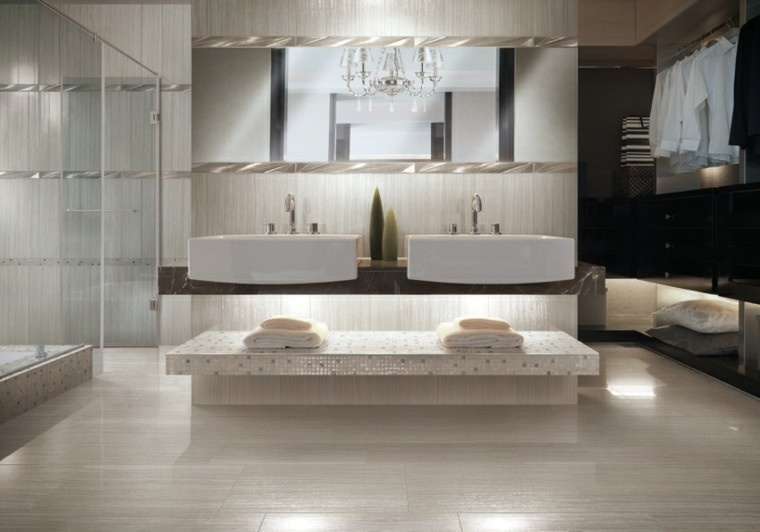 Baños Beige Con Blanco:Azulejos para baños modernos – cien ideas geniales