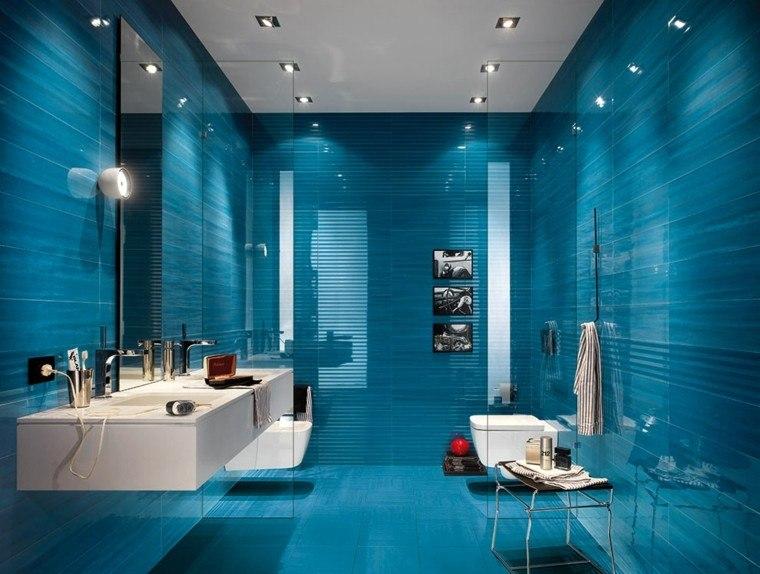 baño diseño moderno color azul