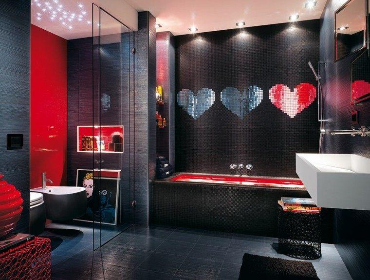 baño moderno corazon ducha mosaico