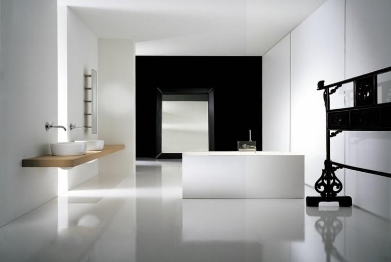 baño estilo moderno blanco negro