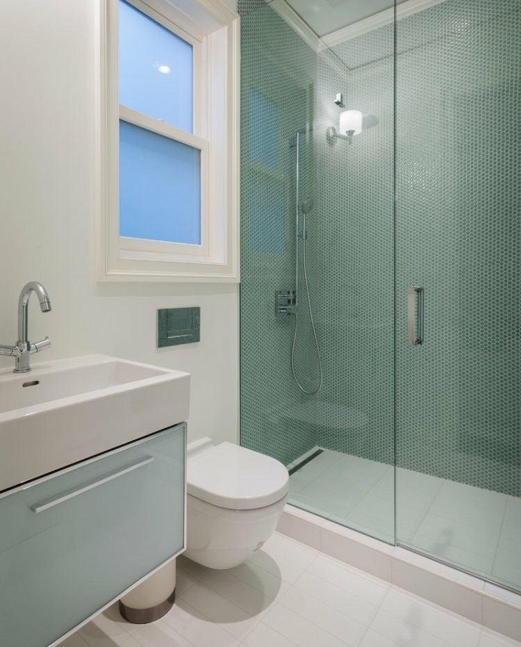 cuarto baño mosaico verde agua