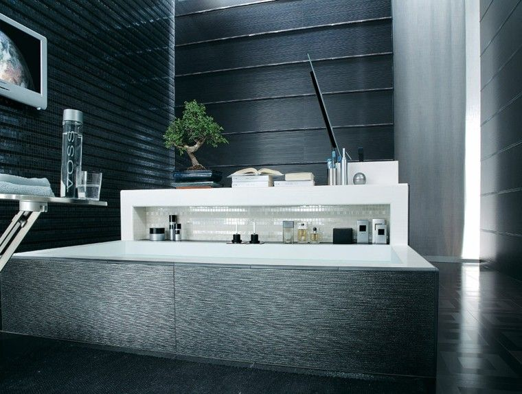 baño negro azulejos laminas negras