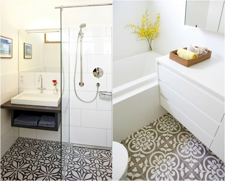 baños pequeños foto collage baldosas