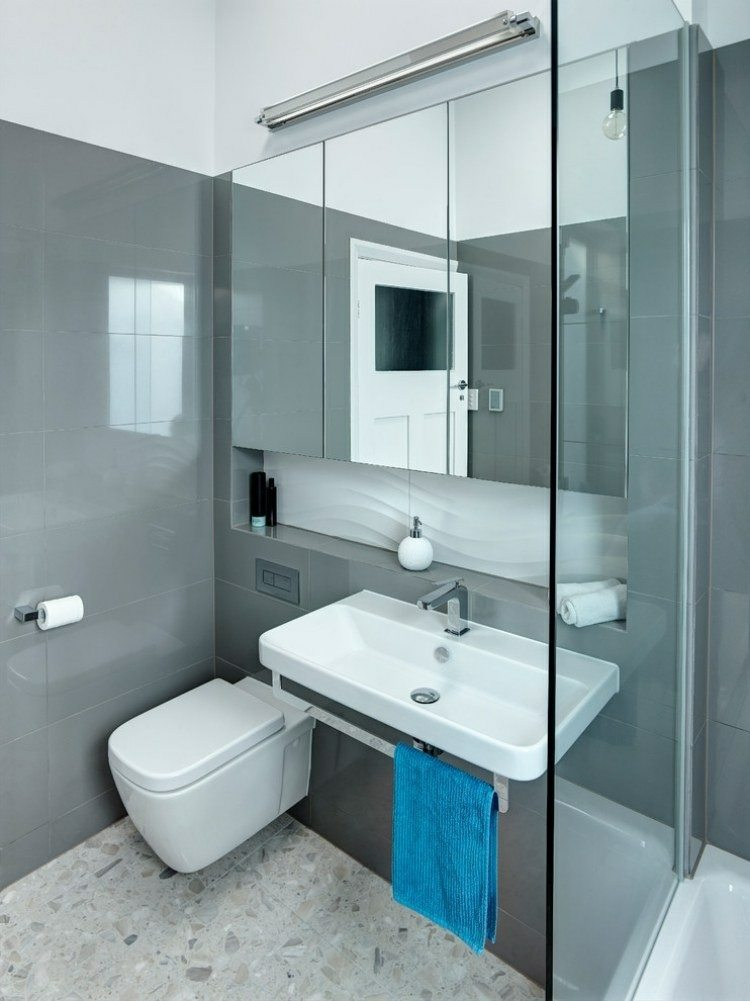 baños pequeños diseño color gris