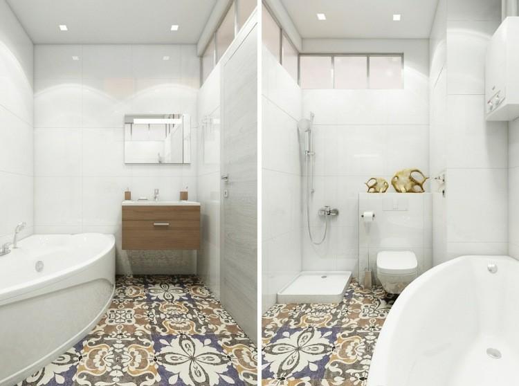 Baldosas Baño Pequeno:baño de color blanco con baldosas clásicas