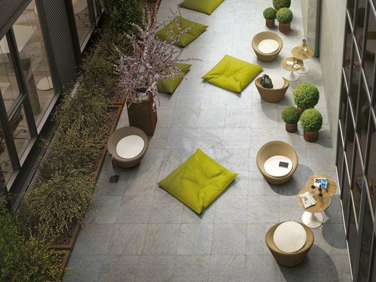 baldosas jardin cojines verde vibrante ideas