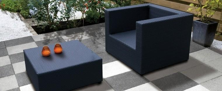baldosas jardin muebles aire libre rattan ideas