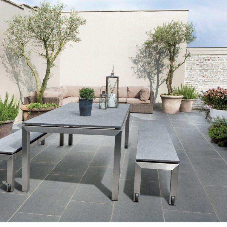 baldosas jardin sofa grande mesa bancos ideas