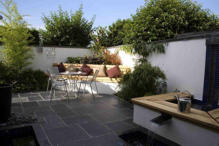 baldosas jardin soleado banco madera ideas