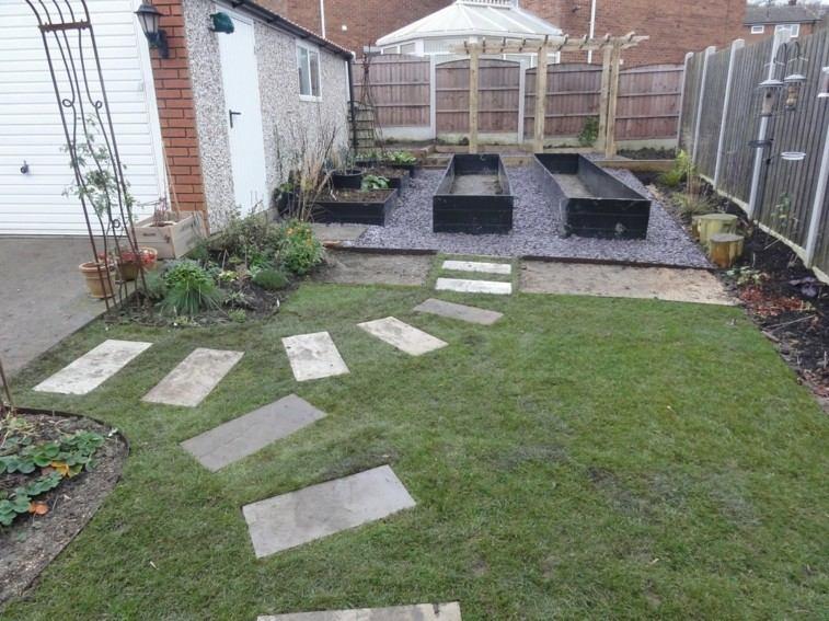 baldosas formas rectangulares camino jardin