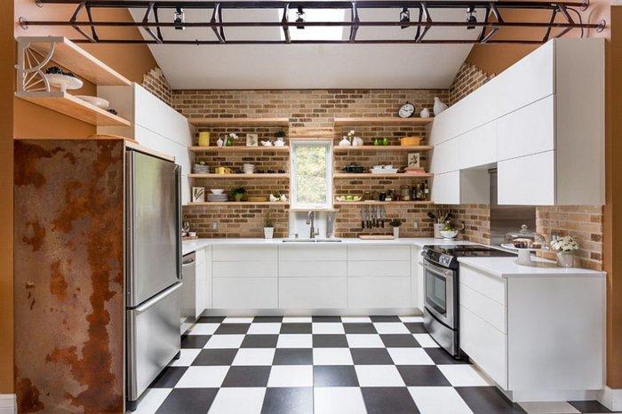 Electrodomesticos y cocinas de aspecto industrial 100 ideas - Baldosas suelo cocina ...