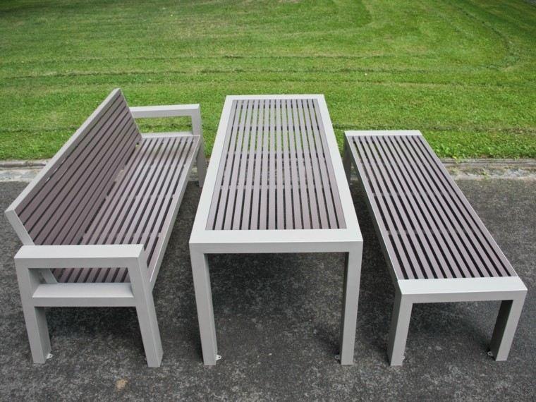 bancos mesa patio material ideas modernas