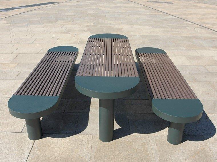 bancos mesa patio material solido resistente ideas