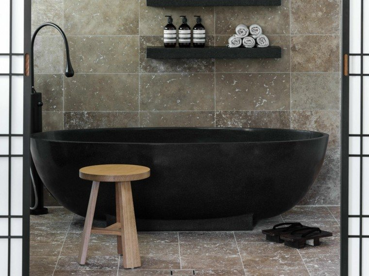 banera negra silla madera bano moderno ideas