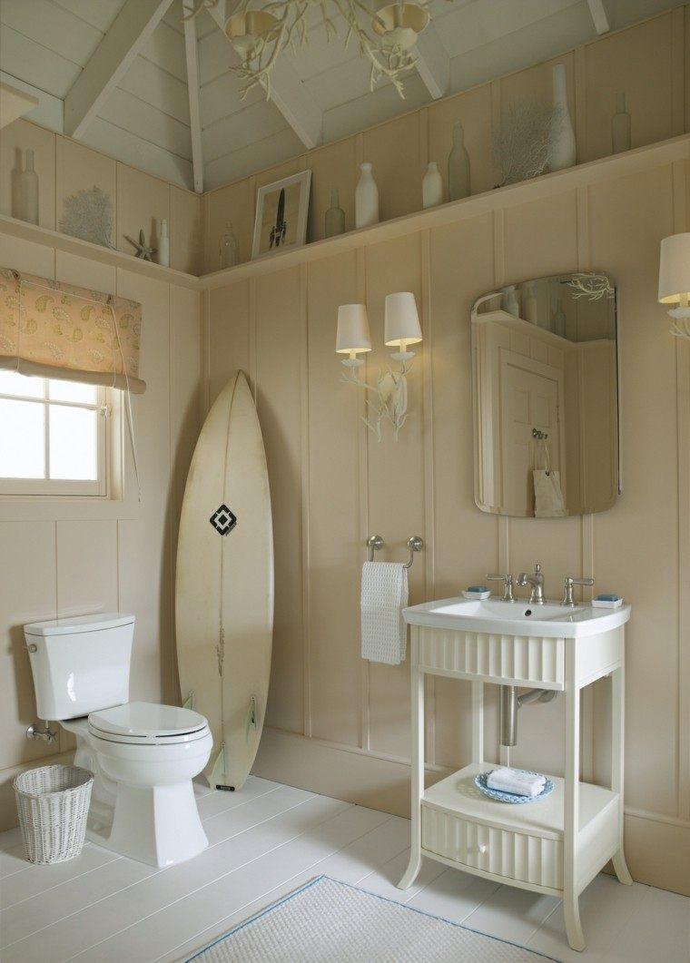 bano decoracion surf paredes suelo madera ideas