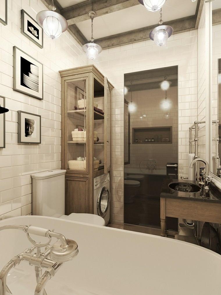 Baños Con Estilo Vintage:Pisos pequeños con paredes de ladrillo y diseño moderno -