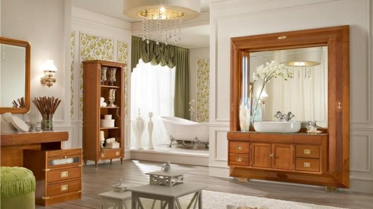 bano grande amplio banera blanca muebles madera ideas
