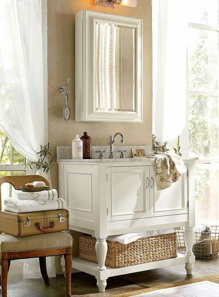bano lavabo madera blanca cesto ideas