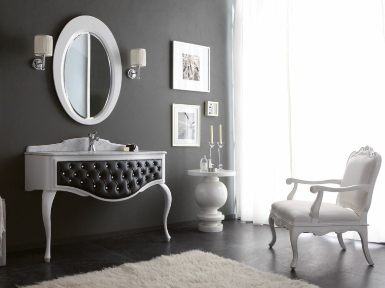 bano lujo lavabo cuero butaca alfombra ideas