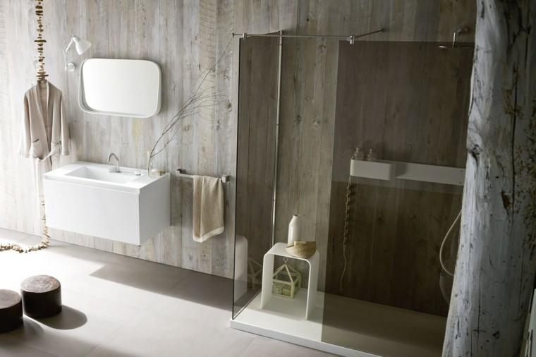 bano moderno limpio taburetes madera ideas