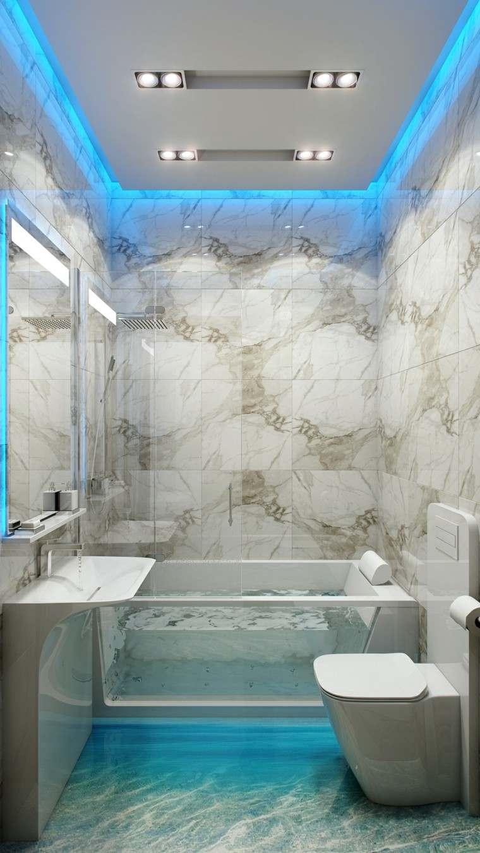 bano moderno parde marmol iluminacion led ideas