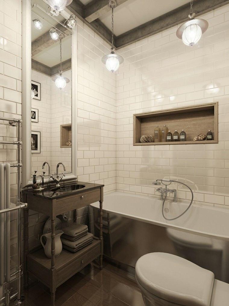 Pisos peque os con paredes de ladrillo y dise o moderno for Pisos y paredes para banos pequenos